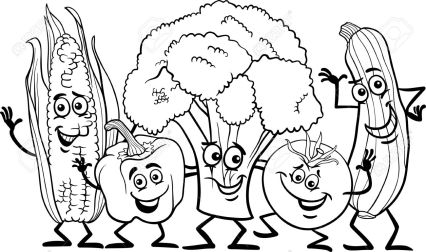 vegetables clipart black and white 5